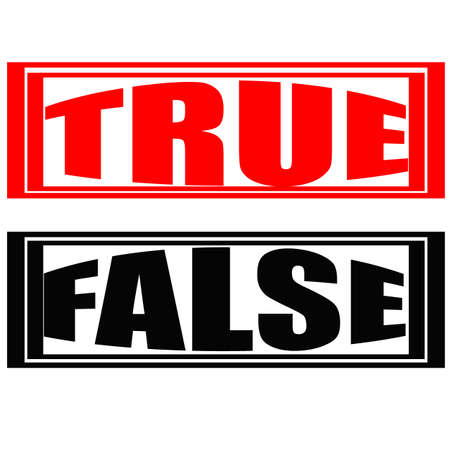 Stamp with words true and false inside, vector illustration
