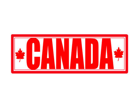 canada stamp: Stamp with word Canada inside, vector illustration