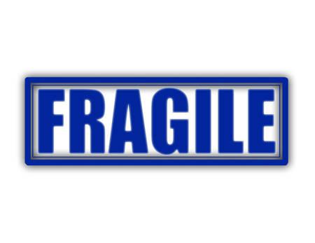 Stamp with word fragile inside, vector illustration