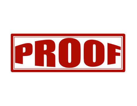 proof: Stamp with word proof inside, vector illustration
