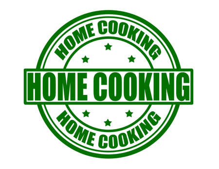hausmannskost: Stempel mit Text Kochen im Hause, Vektor-Illustration
