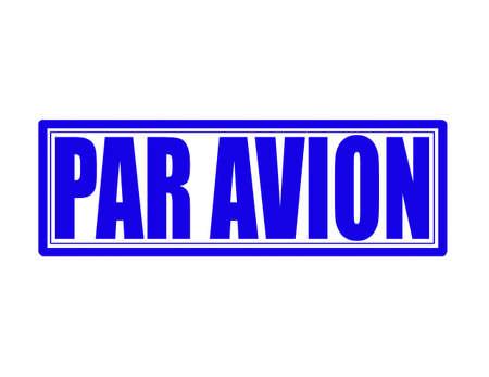 avion: Stamp with text par avion inside, vector illustration