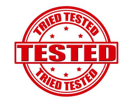 Stamp with word tested inside, vector illustration Illustration
