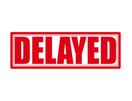 the delayed: Stamp with word delayed inside, vector illustration