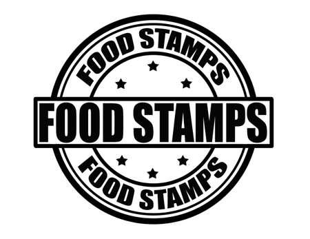 Stamp with food stamps inside, vector illustration