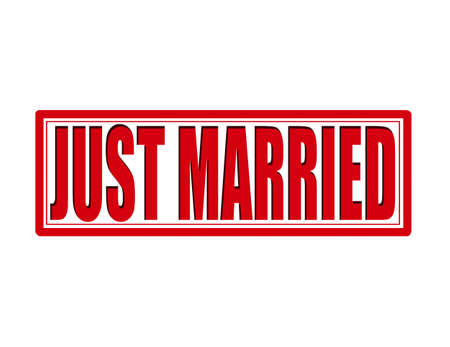 Stamp with text just married inside, vector illustration