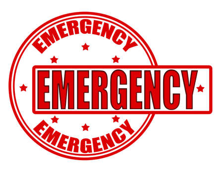 Stamp with word emergency inside, vector illustration