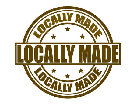 Stamp with text locally made inside, vector illustration
