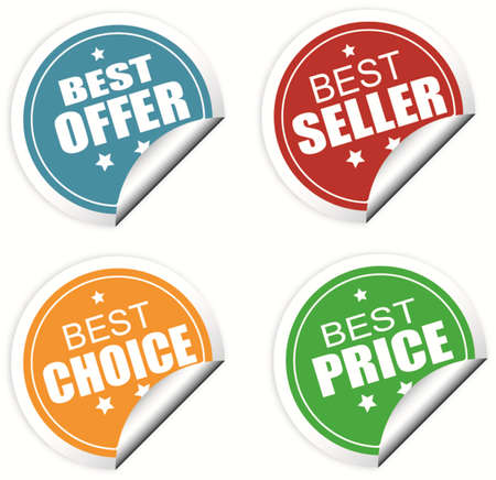 Best offer, best seller , best choice and best price colorful labels or stickers, vector illustration Illustration
