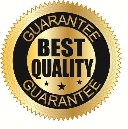 Beste kwaliteit gegarandeerde gouden label, vector illustration