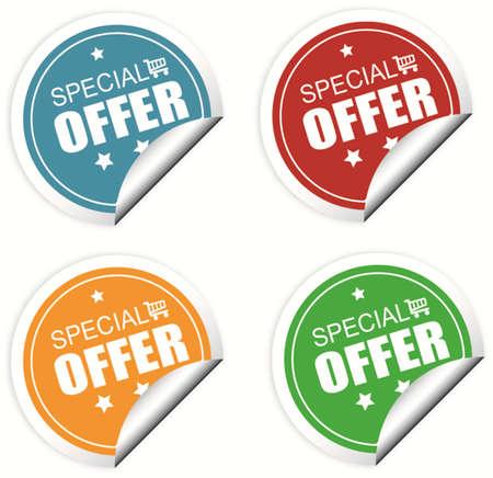 offerta speciale: Offerte speciali etichette colorate o set di adesivi Vettoriali