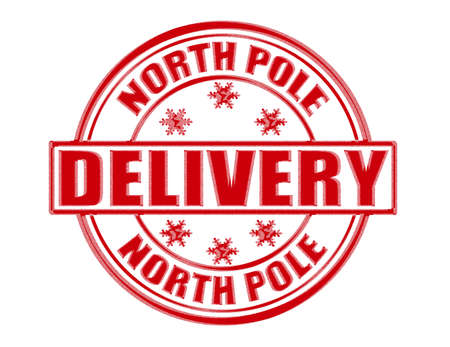 north pole sign: Stamp with word delivery inside, vector illustration