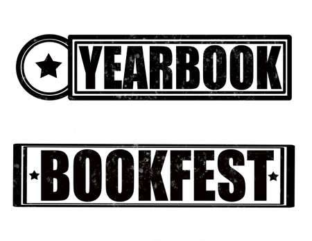 yearbook: Stamp with word yearbook inside, vector illustration