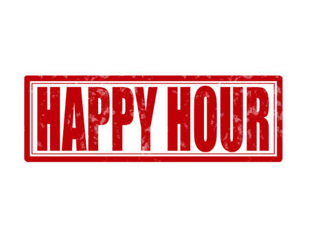 Stamp with text happy hour inside, vector illustration Vector