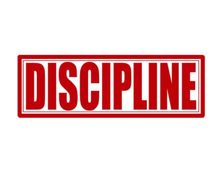 Selo com a palavra disciplina interior, ilustração vetorial
