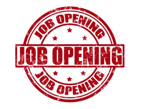 job opening: Sello con la oferta de trabajo de texto en el interior, ilustraci�n vectorial