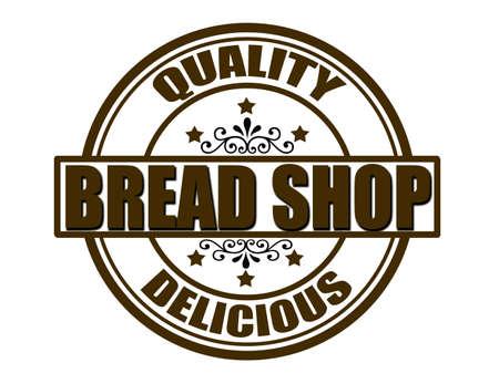 bread shop: Timbro con il negozio di pane testo dentro, illustrazione vettoriale