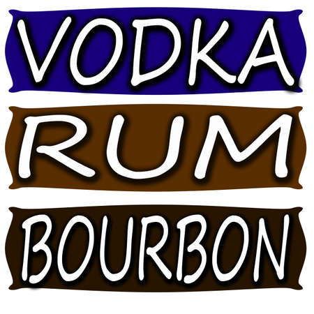bourbon: Stamp with words vodka,rum and bourbon inside, vector illustration