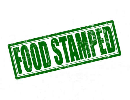 stamped: Stamp with text food stamped inside, vector illustration