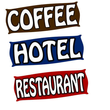 great coffee: Stamp with words coffee hotel and restaurant inside, illustration Illustration