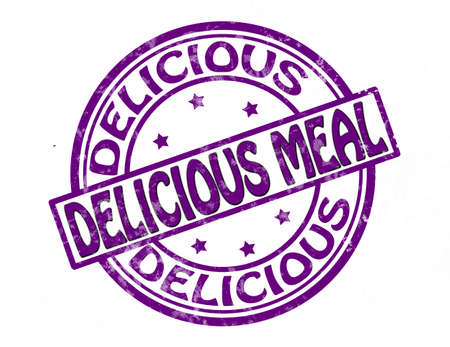 savoury: Stamp with text delicious meal inside,vector illustration