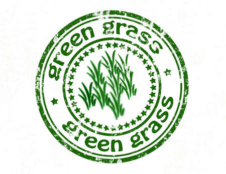 sward: Stamp with text green grass inside, vector illustration