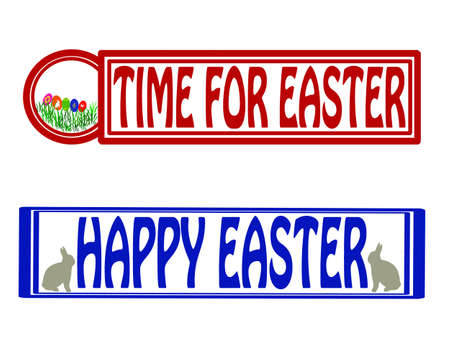 fortunate: Stamp with text time for Easter inside, vector illustration