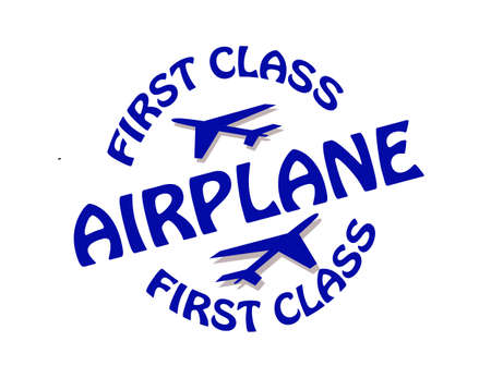 first class: Stamp with text first class airplane inside, illustration