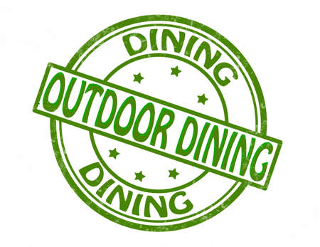 outdoor dining: Stamp with text outdoor dinning inside, illustration Illustration
