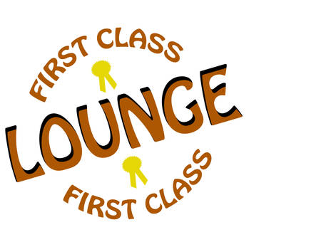 chiefly: Stamp with text first class lounge inside, illustration Illustration