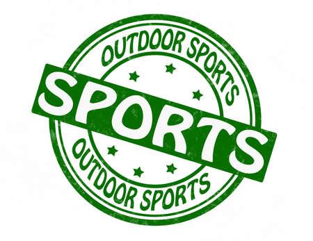 buiten sporten: Stempel met tekst outdoor sporten binnen, illustratie Stock Illustratie