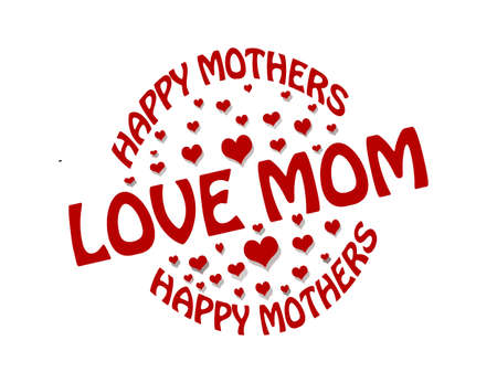 Stamp with text happy mothers inside, illustration