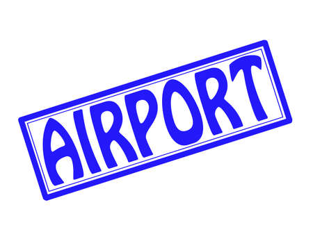 Stamp with word airport inside illustration