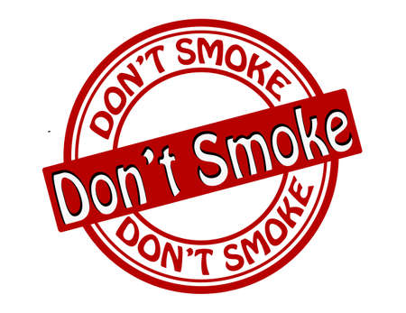 flue: Stamp with text dont smoke inside illustration