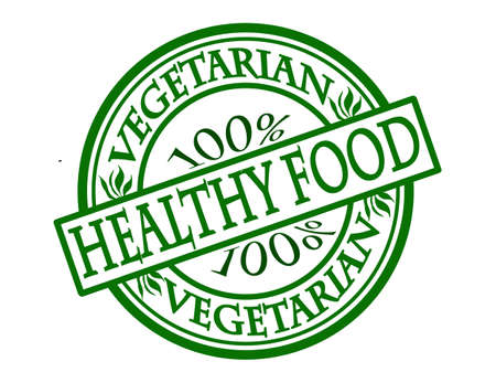 Stamp with text 100% vegetarian healthy food inside illustration