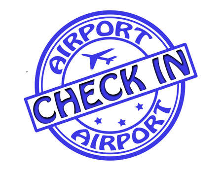 check in: Stamp with text airport check in inside illustration