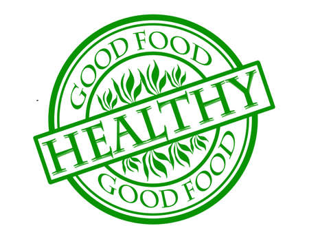 food healthy: Stamp with word good food healthy inside illustration