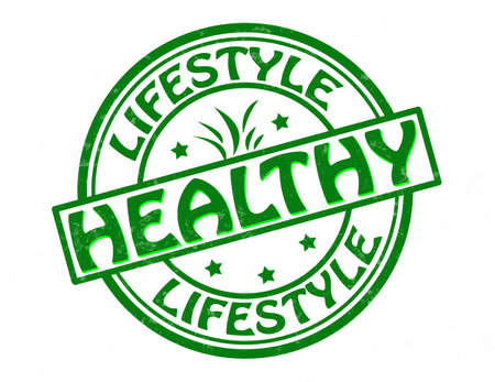 healthful: Stamp with text healthy lifestyle inside, vector illustration Illustration