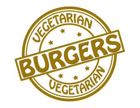 alimentation: Stamp with text vegetarian burgers inside illustration Illustration