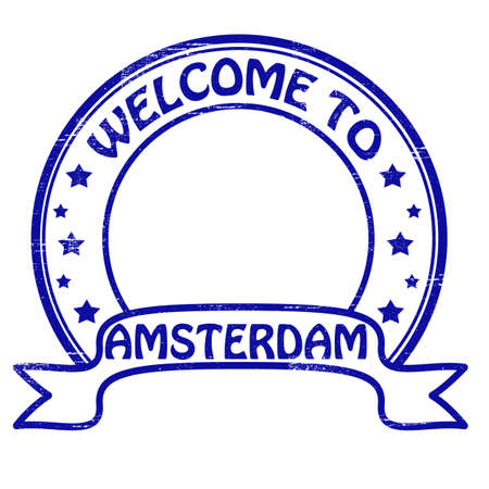 felicitous: Stamp with text welcome to Amsterdam inside Illustration