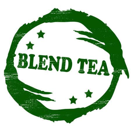admixture: Stamp with text blend tea inside Illustration