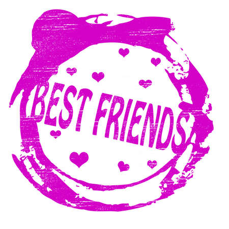mejores amigas: Sello con el texto mejores amigos dentro