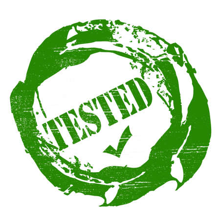 tested: Stamp with word tested inside