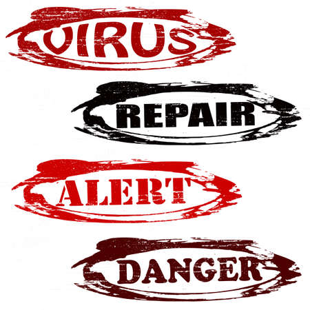 virus alert: Set of stamps with words virus repair alert and danger inside, vector illustration Illustration