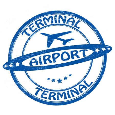 Stamp with text airport terminal inside, vector illustration
