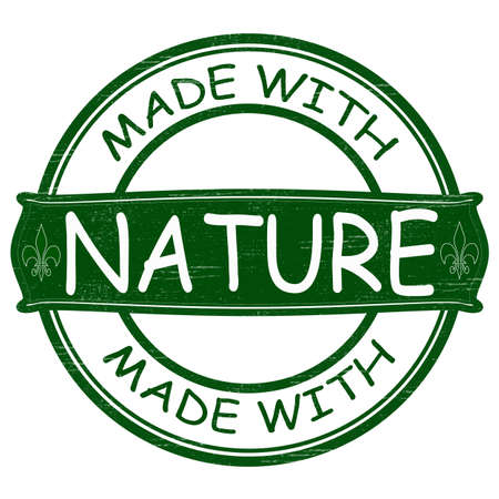 disposition: Stamp with text made with nature inside, vector illustration Illustration