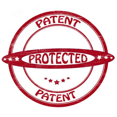 patente: Sello con patente palabras y proteger el interior, ilustraci�n vectorial