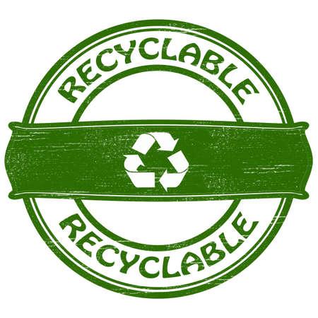 Timbro con la parola riciclabile dentro, illustrazione vettoriale