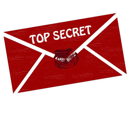clench: Envelope with seal and text top secret inside label
