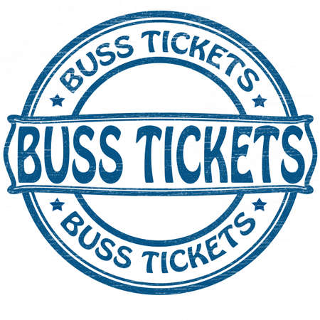 buss: Stamp with text buss tickets inside illustration